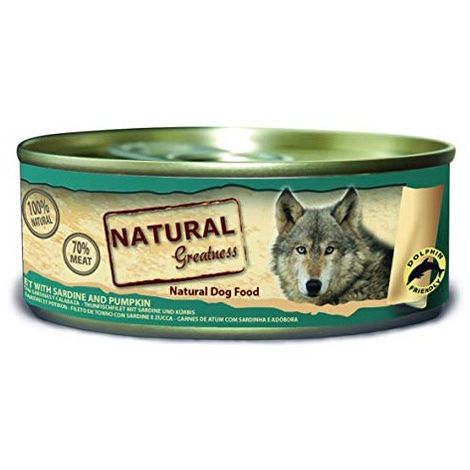 Natural Greatness Comida Húmeda para Perros de Filete de Atún y Sardinas. Pack de 24 Unidades. 156 gr Cada Lata