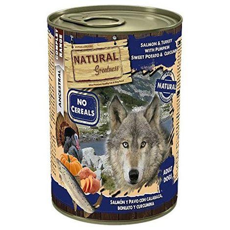 Natural Greatness Comida Húmeda para Perros de Salmón y Pavo con Calabaza, Boniato y Curcumina. Pack de 6 Unidades. 400 gr Cada
