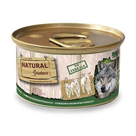 Natural Greatness Comida Húmeda para Perros Receta Monoproteica de Cordero. Pack de 24 Unidades. 170 gr Cada Lata