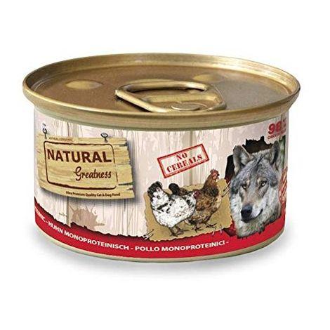Natural Greatness Comida Húmeda para Perros Receta Monoproteica de Pollo Pack de 24 Unidades. 170 gr Cada Lata