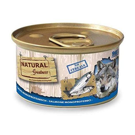 Natural Greatness Comida Húmeda para Perros Receta Monoproteica de Salmón. Pack de 12 Unidades. 170 gr Cada Lata