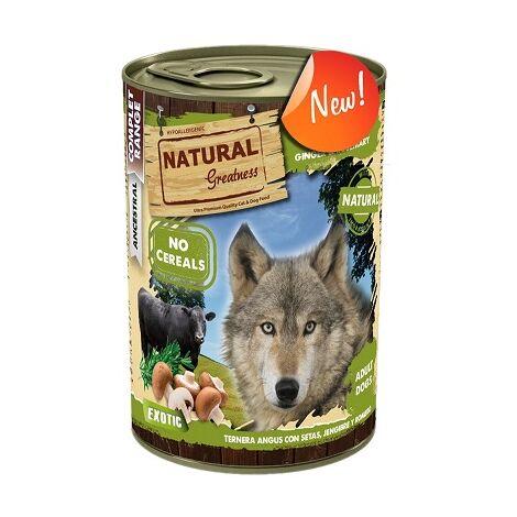NATURAL GREATNESS COMPLET Comida Húmeda para Perros con Ternera Angus con Setas, Jengibre y Romero – Exotic, 6 Latas x 400 gr