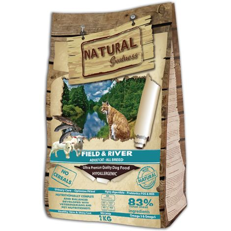 Natural Greatness Pienso Seco para Gatos Receta Field & River. Ultra Premium - Adult Cat -Todas Las Razas - 2 kg