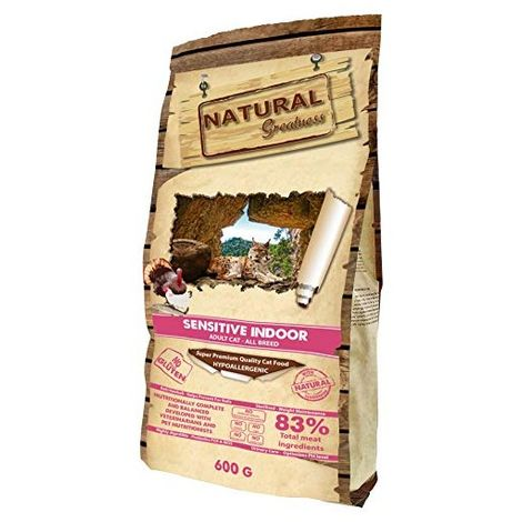 Natural Greatness Pienso seco para Gatos Receta Sensitive Indoor. Super Premium- Adult Cat- Todas Las Razas- 600 g
