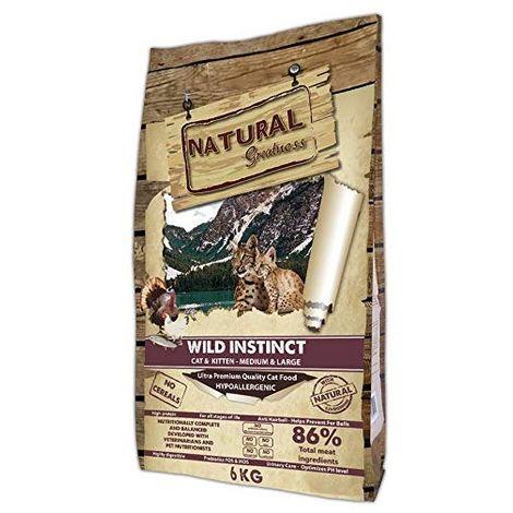 Natural Greatness Pienso seco para Gatos Receta Wild Instinct. Ultra Premium -Cat & Kiiten Medium & Large-Todas Las Razas. 6 Kg