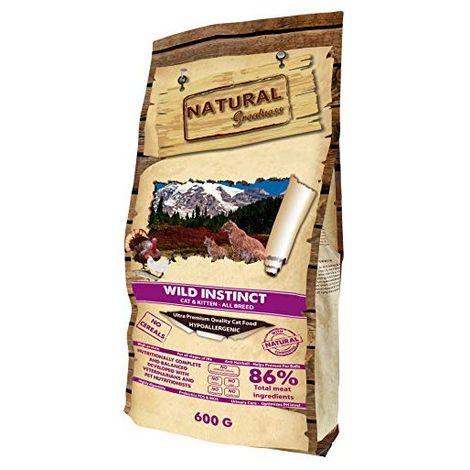 Natural Greatness Pienso seco para Gatos Receta Wild Instinct. Ultra Premium - Cat & Kiiten - Todas Las Razas. 600 g