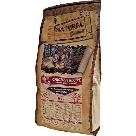 Natural Greatness Pienso seco para Perros. Receta de Pollo - Ultra Premium - Destete - Cachorro - Junior - Todas Las Razas. 800g