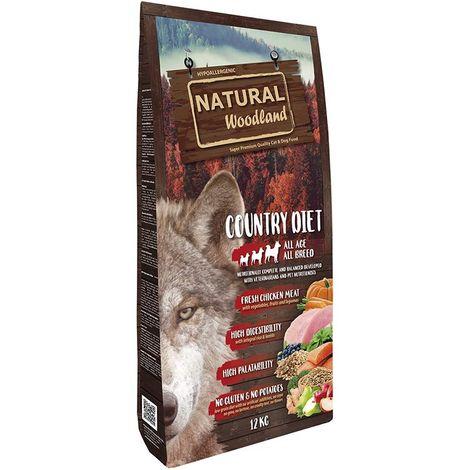 Natural Greatness Pienso Seco para Perros Receta Natural Woodland Country Diet. Super Premium. Todas Las Razas y Edades. 12 Kg