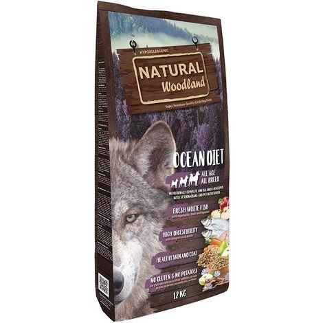 Natural Greatness Pienso Seco para Perros Receta Natural Woodland Ocean Diet. Super Premium. Todas Las Razas y Edades. 12 kg