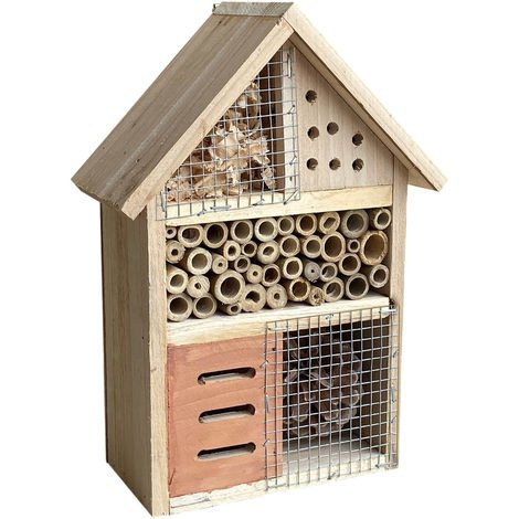 Natural Insect and Bug Hotel 185x90x260mm, House for Hibernating Bees & other Insects