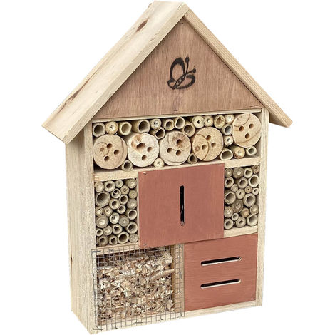 Natural Insect and Bug Hotel 275x90x410mm, House for Hibernating Bees & other Insects