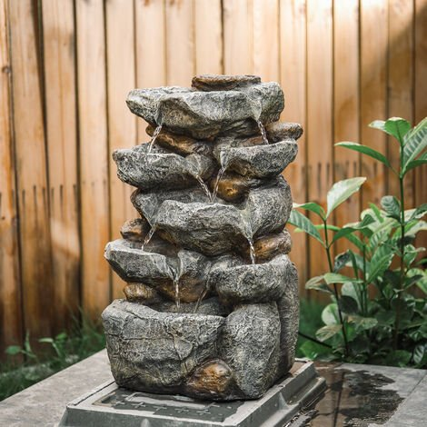 """main image of """"Natural Slate Garden Water Feature Outdoor LED Fountain Waterfall Solar Powered"""""""