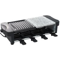 Natural Stone Grill Set, 3 in 1 Raclette Grill, Negro, Tamaño: 52 x 20,5 x 12,8 cm