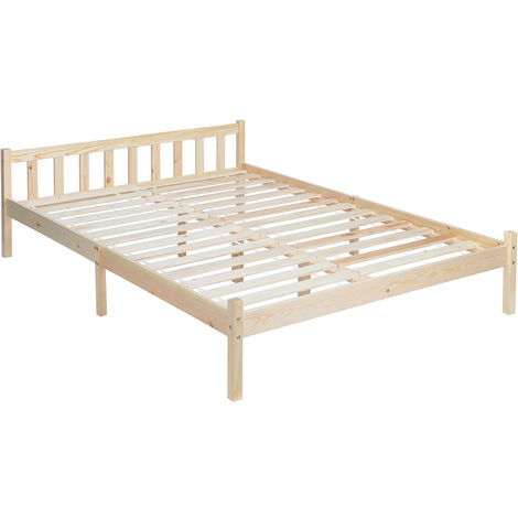 Natural Sturdy Pine Solid Wooden 4ft6 Double Queen Size Bed Frame Wood