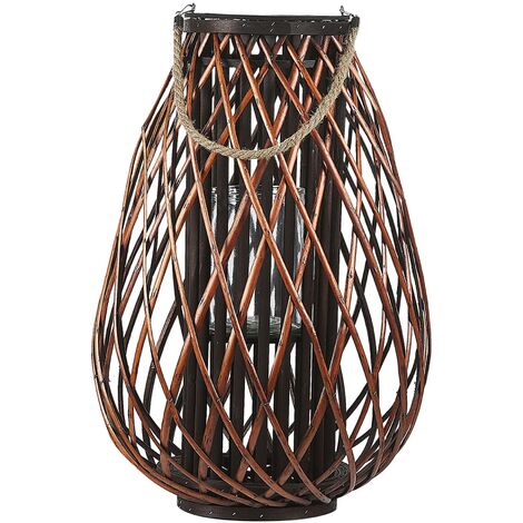 Natural Willow Candle Holder Lantern Rope Handle Dark Wood Tall Kiusiu