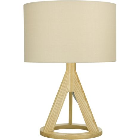 Natural Wooden Modern Tripod Table Lamp Bedside Light Floor Lamp Light Stands