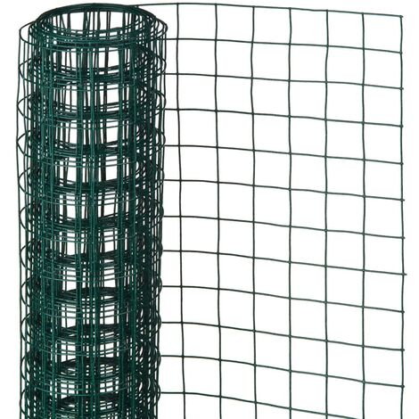 Nature Alambrada cuadrada 1x5 m 13 mm acero recubierto plástico verde - Verde