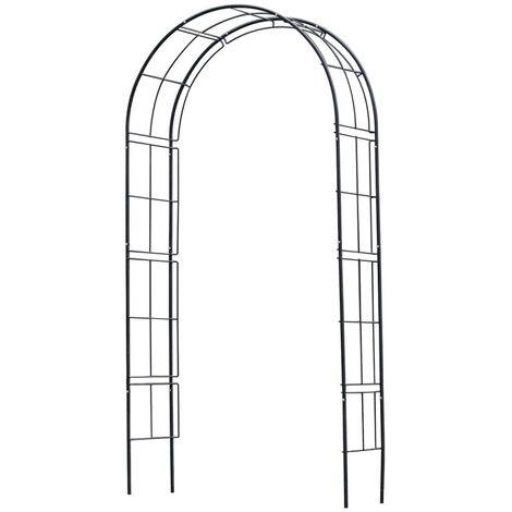 Nature Arco para jardín de metal negro 229x38x113 cm