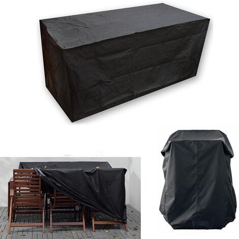Nature Funda de jardín Mobiliario de jardín Funda protectora negra Mesa de jardín rectangular Poliéster de alta calidad