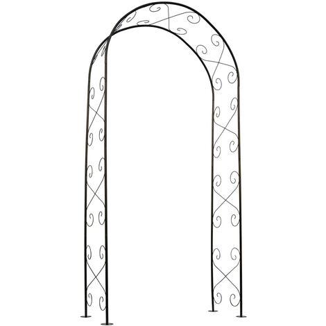 Nature Garden Arch Metal 100x37x230cm Black - Black