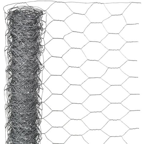 Nature Grillage métallique hexagonal 0,5x2,5 m 25 mm Acier galvanisé