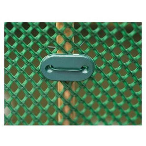 Nature Kit de Fixation de Clôture de Jardin 27 pcs Agrafes Grillage Vert/Gris