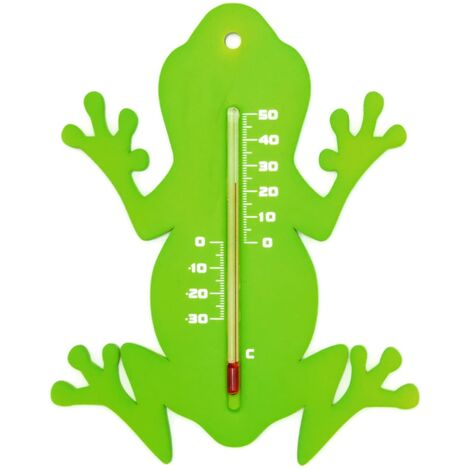Nature Outdoor Wall Thermometer Frog Green