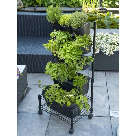 Nature Set de jardinera vertical móvil - Negro