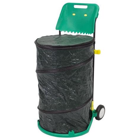 NATURE Trolley pour déchets de jardin tout en 1 : poubelle multi-usages spiralée de 160 L + ramasse-feuille - H76 x Ø 47,5 cm