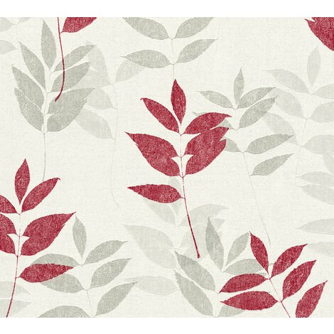 Nature wallpaper wall Profhome 372613-GU non-woven wallpaper slightly textured with nature-inspired pattern matt red grey beige 5.33 m2 (57 ft2)