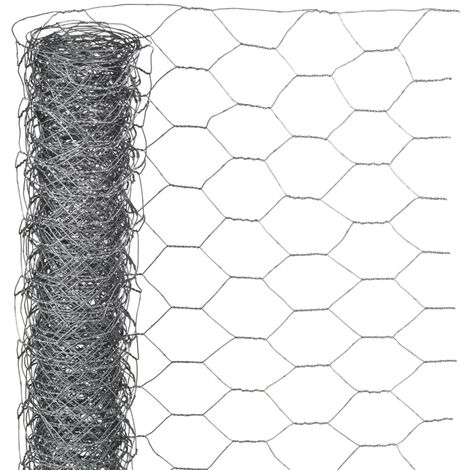 Nature Wire Mesh Hexagonal 0.5x5 m 25 mm Galvanised Steel - Grey