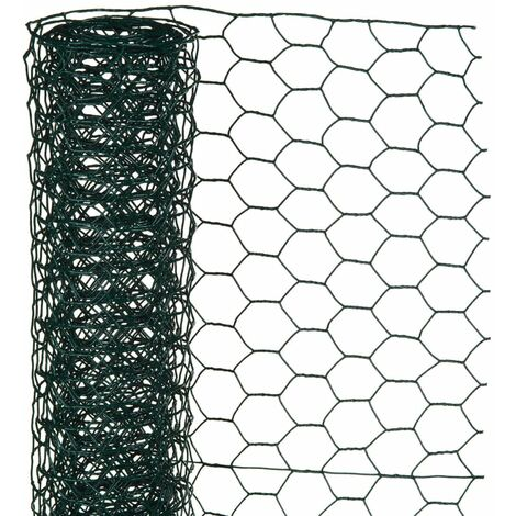 Nature Wire Mesh Hexagonal 1x5 m 13 mm Plastic coated Steel Green