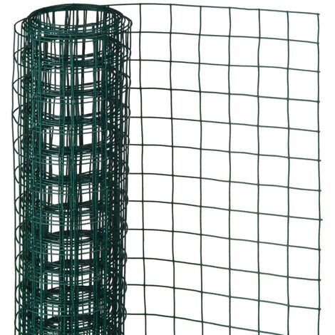 Nature Wire Mesh Square 0.5x2.5 m 13 mm Plastic Coated Steel Green