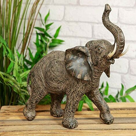"""main image of """"Naturecraft Collection - Elephant with Trunk Raised Figurine"""""""