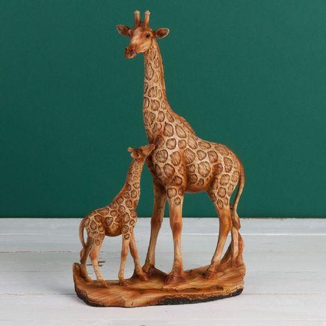 Naturecraft Wood Effect Resin Figurine - Giraffe & Calf