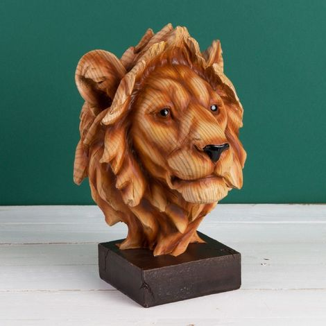 Naturecraft Wood Effect Resin Figurine - Lion Head