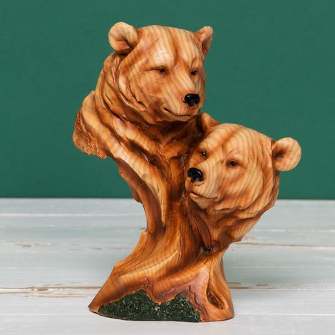 Naturecraft Wood Effect Resin Figurine - Two Bear Heads