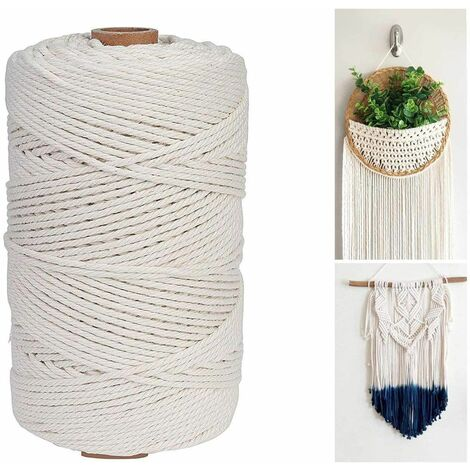 Naturel Ficelle Coton, Corde de Macramé Fait à la Main, 2mm x 100m Corde Macramé Decorative pour Emballage Cadeaux décoratifs de Bricolage, Artisanat, tentures murales, Plantes.