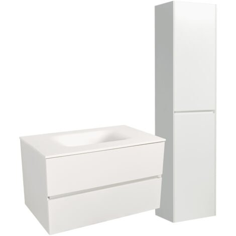 Naturel Set Meuble 66cm suspendu blanc mat avec 2 tiroirs + Vasque marbre coulé blanc mat + Armoire (Verona66BBB)
