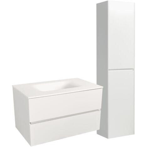 Naturel Set Meuble 86cm suspendu blanc mat avec 2 tiroirs + Vasque marbre coulé blanc mat + Armoire (Verona86BBB)