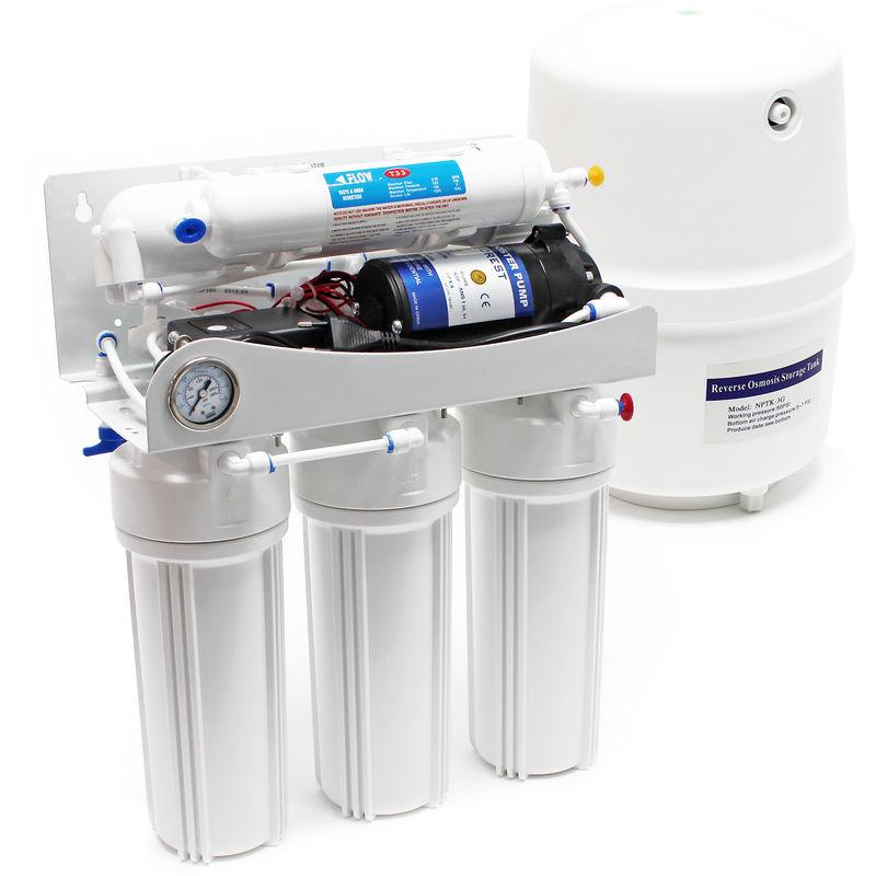 Pompa a osmosi inversa a 5 stadi (RO) 180l/giorno con pompa ausiliaria WILTEC