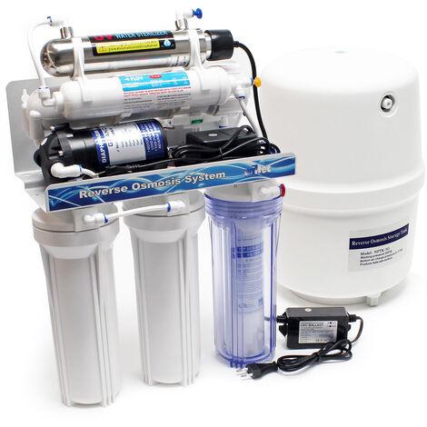 Naturewater 6-etapes osmose inverse (RO) 180l/jour avec la lumière UV et pompe de surpression