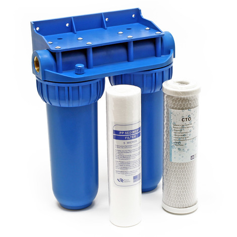 """Naturewater NW-BR10B2 filtre double 20.67mm (1/2"""") cartouche polypropylène, bloc charbon actif et clé"""