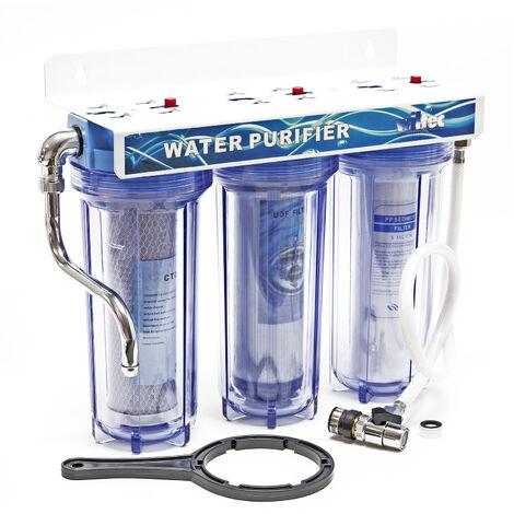 """Naturewater NW-PR103 Filtro agua 3 Etapas ¾"""" 26mm Filtración agua Uso doméstico Exceso cal Casa"""
