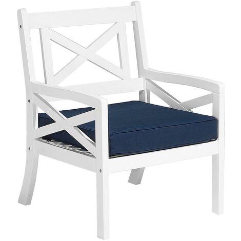Nautical Acacia Garden Patio Chair Armchair White with Blue Cushion Baltic