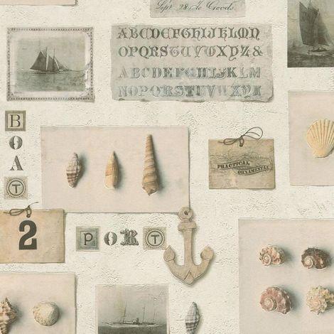 Nautical Wallpaper Rasch Textured Embossed Vinyl Clam Anchor Boat Seaside Shell