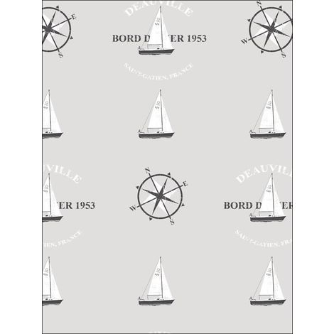"""main image of """"Nautical Wallpaper Yachts Compass Typography Grey Black White Paste The Wall"""""""