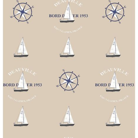 Nautical Yacht Boat Compass Wallpaper Beige Black Blue Paste Wall Galerie