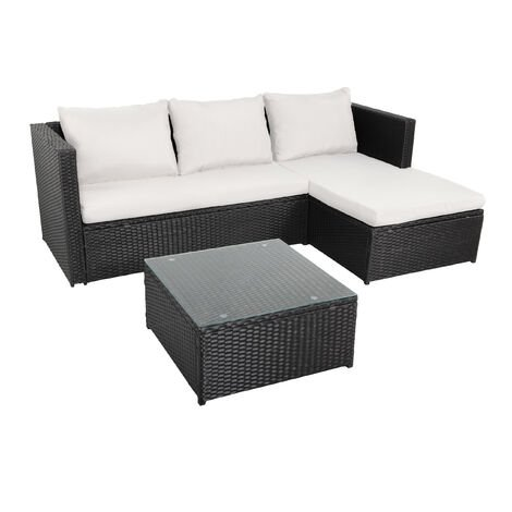 NAVAGIO - 3 Seater Woven Resin Corner Sofa - Black Grey - Black Grey