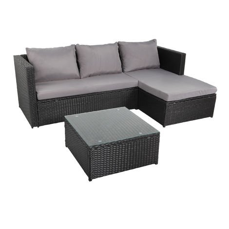 NAVAGIO - Lounge trenzado de resina 3 plazas - Negro Gris